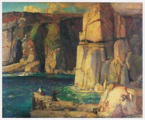 Tregiffian Cliff near Lamorna S.J. Lamorna Birch print in 11 x 14 mount SUPERB