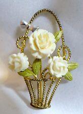 Vintage Creed .925 Sterling Silver Coral Roses Basket Brooch Pin