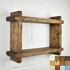 Wood Shelf - 2-Tier Crossed Ends Chunky Wood - Timber: 5cm x 15cm - Handmade