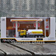 Diecast Model Toy Gas Petrol Service Station With 1:64 Tanker Truck Playset