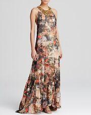 NWT Alice and Olivia SHONA JUNGLE Safari MAXI DRESS embellished neckline sz - S