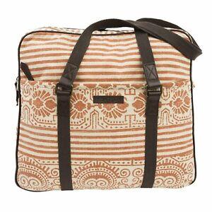 AMBER Wanderlust Tote Travel Bag Tribal Stripes Red Brown Leather Bella Taylor