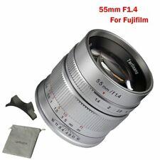 7artisans 55mm F1.4 APS-C Silver Manual Focus Lens For Fuji X-Mount X-M1/X-Pro1