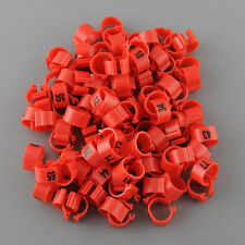 100Pcs Set Poultry Leg Pigeon Parrot Chicks Duck Red Rings Clip 1-100 Numbered