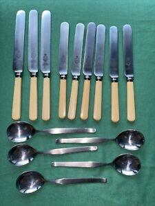 Viners Vintage Dinner knives faux bone Handle Sheffield Steel 24, 21 Plus Spoons