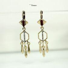 Pendientes Colgantes Dorado Candelabro Flecos Metal Rojo Art Deco Fino YW5