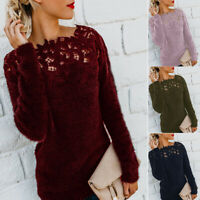 Women Sweater Tops Casual Pullover Long Blouse Fluffy Sleeve Patchwork Jumper