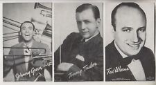 3 VINTAGE MUTOSCOPE POSTCARDS - JOHNNY GREEN - TOMMY TUCKER - TED WEEMS