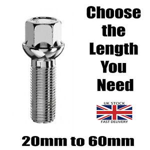 M12 x 1.5 Radius Alloy Wheel Bolt Short to Extra Long Extended Thread Length