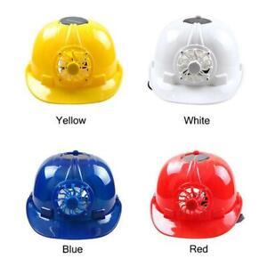 Solar Powered Safety Helmet Hard Hat Cap + Cool Fan Energy Saving Summer A3K5
