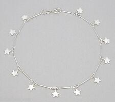 "10"" Ankle Bracelet Fun & Flirty 5g Solid Sterling Silver Anklet Dangling Stars"