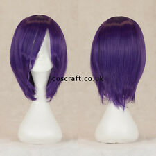 Short medium straight layered cosplay wig in deep purple, UK SELLER, Lily style