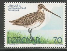 Faroe Islands #28 (A9) Vf Mnh - 1977 70o Common Snipe Bird