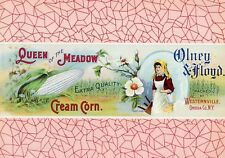 QUEEN OF THE MEADOW Vintage Cream Corn Label, *AN ORIGINAL 1910's TIN CAN LABEL*