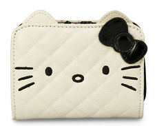 # LOUNGEFLY Sanrio Hello Kitty WALLET Face BLACK WHITE CREAM 3D Ear Bow Quilt