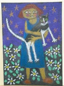 Cats Ollietuxedo Original ACEO Woman in the Garden with her Cat CAT ATC