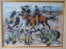 JAMES LEE COLT (1922-2005) WESTERN COWBOYS ORIGINAL IMPRESSIONIST OIL PAINTING