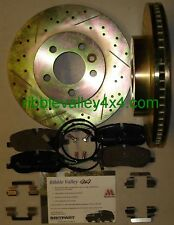 DISCOVERY 3 FRONT BRAKE DISCS DRILLED GROOVED PAD KIT SENSOR