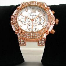 White Rose Gold Geneva Bling Bling Case Hard Rubber Strap Men's Quartz Watch