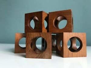 MCM - 1950s 1960s Vintage Handcrafted Rare shape Geometric Teak Napkin Rings
