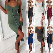 UK Women Holiday V Neck Bodycon Front Split Ladies Party Summer Beach Midi Dress