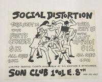 Original Vintage Social Distortion Concert Flyer Punk Rock 1989 Tempe Arizona