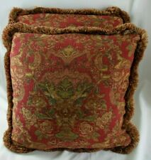 """2 Pillows Red Tapestry Floral Fabric Custom 20"""" contrast Chenille fabric backing"""