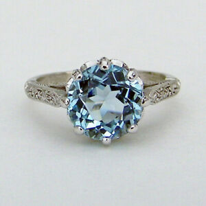 Round Cut Aquamarine Women Jewelry Romantic 925 Silver Rings for Girls Size 6-10