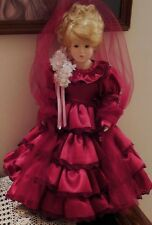 "17"" LADY ANNABELLE, VICTORIAN PORCELAIN DOLL, BURGUNDY SATIN DRESS, IMMACULATE!"