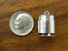 Vintage silver MOVABLE MEDICAL ASPIRIN DISPENSER EMERGENCY PILL BOX charm #M
