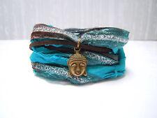 Buddha Bracelet, Boho Silk Wrap Bracelet, Teal, Brown, Bronze, Cuff, Yoga