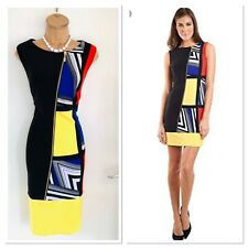 Stunning JOSEPH RIBKOFF Colourful Colour Block Zip Detail Bodycon Dress Uk 14