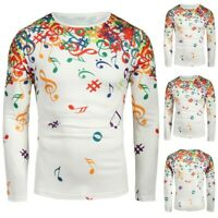 Men Musical Note Pattern Casual Slim O-Neck Long Sleeve Top Vintage Shirt Blouse