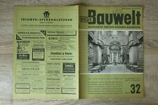 NEUE Bauwelt Zeitschrift Bauwesen Heft 32 6.8.1951 Architektur Bibliothek Archiv
