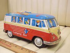 """1960s Yomezawa Tin Volkwagen VW Camping """"Speaking"""" Bus Toy Japan"""