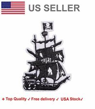 Pirate Ship Embroidered Iron On Sew on Patch of the caribbean embroidery badge
