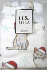 Avanti 3 Fingertip Gray Cat Tabbie Kitten Santa Bow Hat Embroidered Towels Boxed