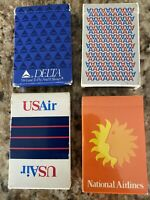 Lot of 4 Airline Playing Cards Delta American US Air National Airlines