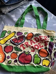 Trader Joes Reusable Shopping Bag Tote Grocery Cloth Fruit Vegetable Lowell USA