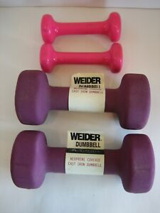 2 New Weider 6lb Each Neoprene Coated Dumbells +2 Rubber Coated Unknown 1lb Each