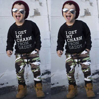 Winter Toddler Kid Baby Boy T Shirt Tops+Camouflage Pants Outfits Clothes Set KV