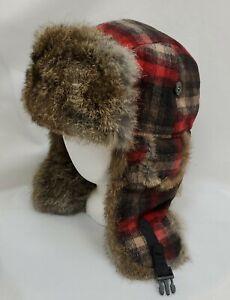 Mad Bomber Wool Rabbit Fur Trapper Hat Red Black Plaid Medium Ear Flap Insulated