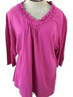 JMS knit top Size 2X 18 20 pink ruffle neckline 3/4 sleeve cotton just my size