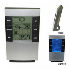Cool Digital Backlight Thermometer Humidity Meter Hygrometer Table Alarm Clock