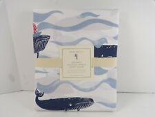 Pottery Barn Kids Organic Nautical Whale Duvet Cover Twin #600