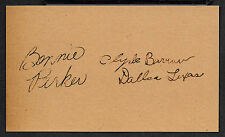 Bonnie & Clyde Autograph Reprint On Genuine Original Period 1930s 3X5 Card