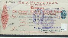 wbc. - CHEQUE - CH1004 - USED -1935- NATIONAL BANK of SCOTLAND,EDINBURGH special