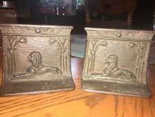 ANTIQUE CAST IRON SPHINX  BRONZE BOOKENDS EGYPTIAN REVIVAL 1920S ART DECO