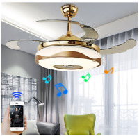 Modern Smart Ceiling Fan Chandelier Light Bluetooth Remote Music Player 42''