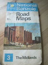 Vintage 1965 National Benzole Touring Sercvice Road Map Number 3 the Midlands